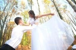 Plener ślubny taniec jak łabądź