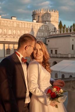 PLener ślubny w Krasiczynie na Zamku w blasku słońca
