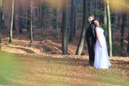 Plener ślubny w lesie czarujace zielone listki